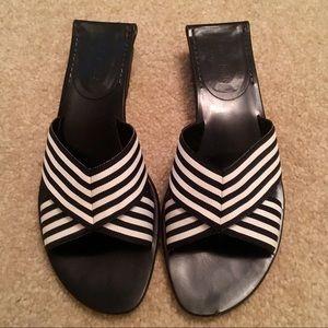 Kate Spade Grossgrain Black & White Bow Slides